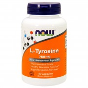Тирозин NOW L-Tyrosine 750 мг  (90 капс)
